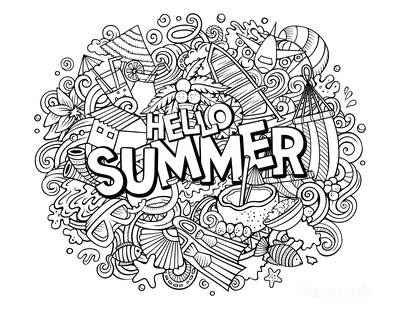 Summer Coloring Pages Hello Summer Doodle for Teens