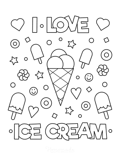 Summer Coloring Pages I Love Icecream