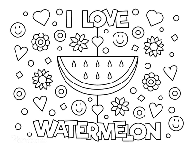 Summer Coloring Pages I Love Watermelon