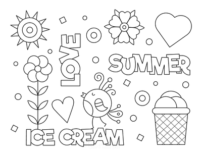 Summer Coloring Pages Ice Cream Love Summer