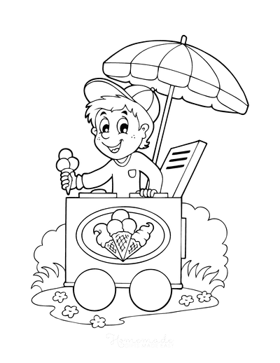 Summer Coloring Pages Ice Cream Stand