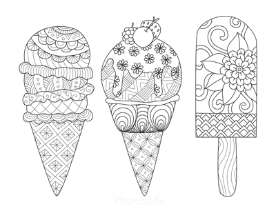 Summer Coloring Pages Icecreams Doodle for Adults