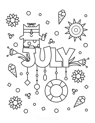 Summer Coloring Pages July for Kids