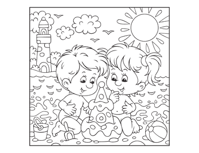 Summer Coloring Pages Kids on Beach Sandcastle