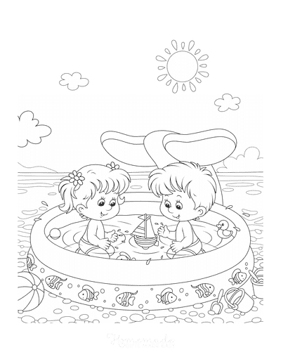 Summer Coloring Pages Paddling Pool Beach Sun