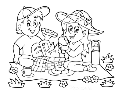 Summer Coloring Pages Picnic