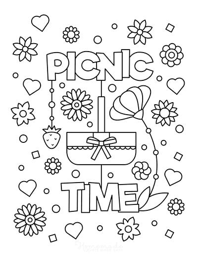Summer Coloring Pages Picnic Time for Kids