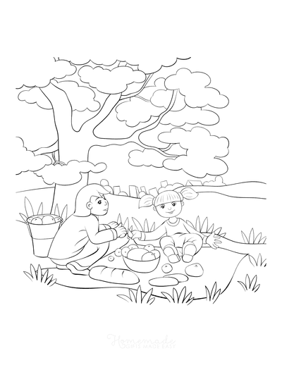 Summer Coloring Pages Picnic Under Tree