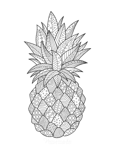Summer Coloring Pages Pineapple Doodle