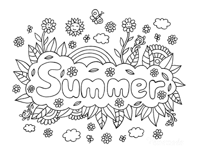 Summer Coloring Pages Rainbow Flowers Sunshine
