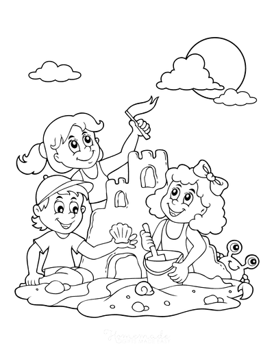 Summer Coloring Pages Sandcastle Shells Children Beach