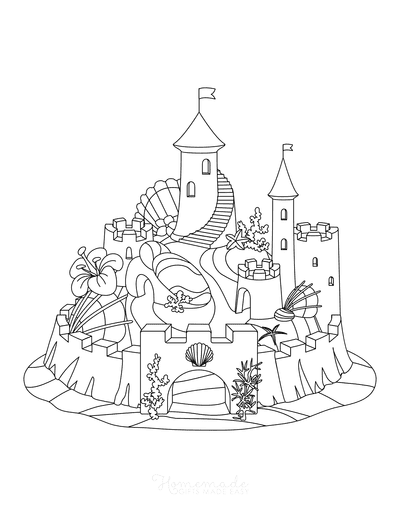 Summer Coloring Pages Sandcastle Shells Flowers