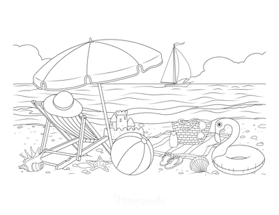 Summer Coloring Pages Seaside