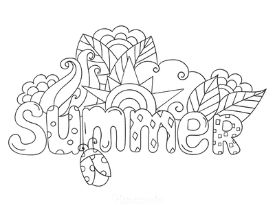 Summer Coloring Pages Sign to Color
