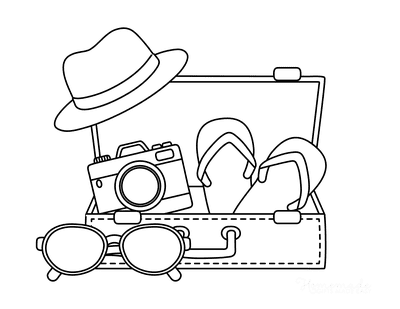 Summer Coloring Pages Suitcase Sunglasses Camera Hat