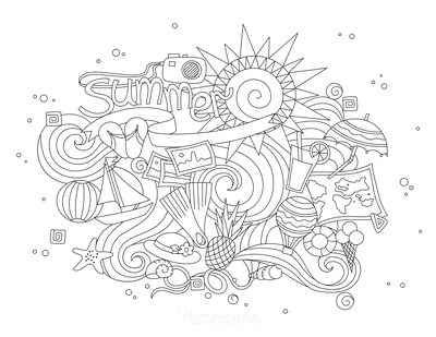 Summer Coloring Pages Sun Waves Icons Doodle