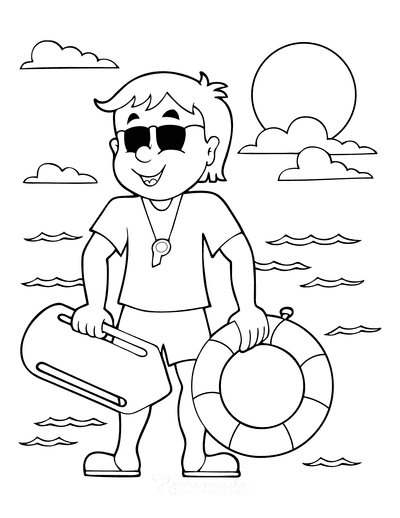 Summer Coloring Pages Surf Life Saver