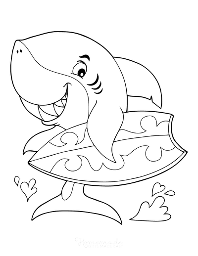 Summer Coloring Pages Surfing Shark for Boys