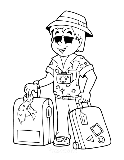 Summer Coloring Pages Travel Vacation Suitcases
