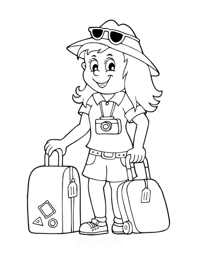 Summer Coloring Pages Vacation Luggage