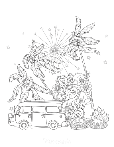 Summer Coloring Pages Vacation Surfing Van Doodle