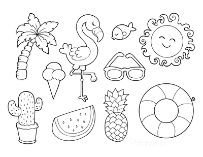 Summer Coloring Pages Watermelon Flamingo Tropical