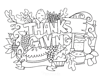 Thanksgiving Coloring Pages Abundant Produce