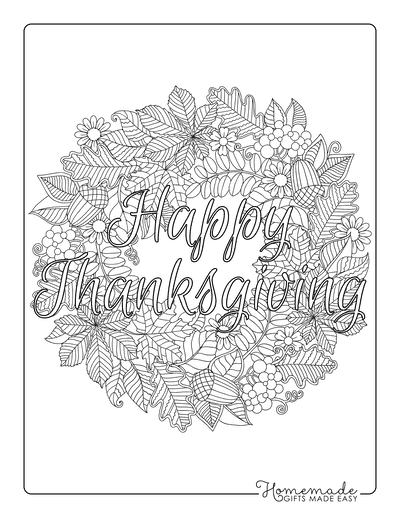 Thanksgiving Coloring Pages Autumn Wreath Happy Thanksgiving