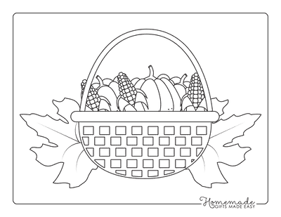 Thanksgiving Coloring Pages Basket of Corn Pumpkins With Fall Leaves