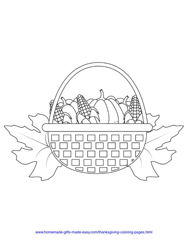 thanksgiving coloring pages - Basket of produce