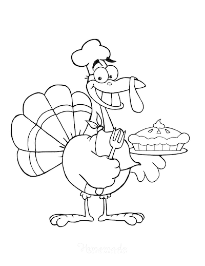 Thanksgiving Coloring Pages Cartoon Turkey Chef With Pie