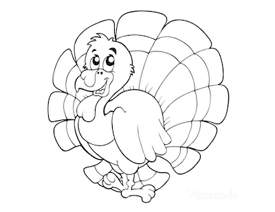 Thanksgiving Coloring Pages Cartoon Turkey for Preschoolers