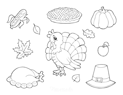 Thanksgiving Coloring Pages Corn Turkey Pie Hat Leaves