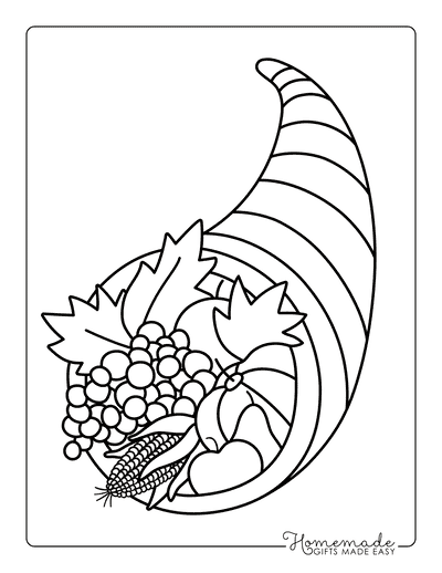 Thanksgiving Coloring Pages Cornucopia for Kids