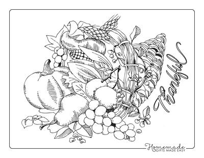 Thanksgiving Coloring Pages Cornucopia Grapes Pumpkin Harvest
