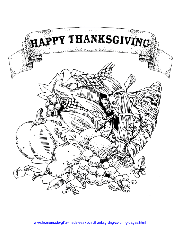 thanksgiving coloring pages - Cornucopia horn of plenty