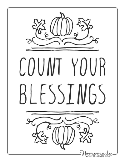 Thanksgiving Coloring Pages Count Your Blessings Pumpkin Poster