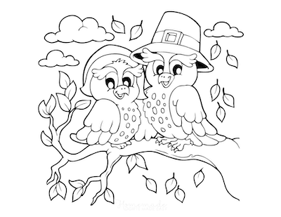 Thanksgiving Coloring Pages Cute Owls in Pilgrims Hats