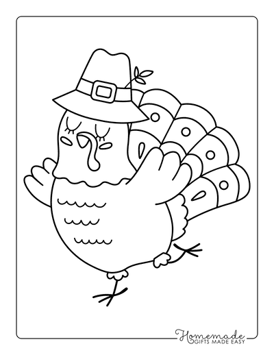 Thanksgiving Coloring Pages Cute Turkey for Kids