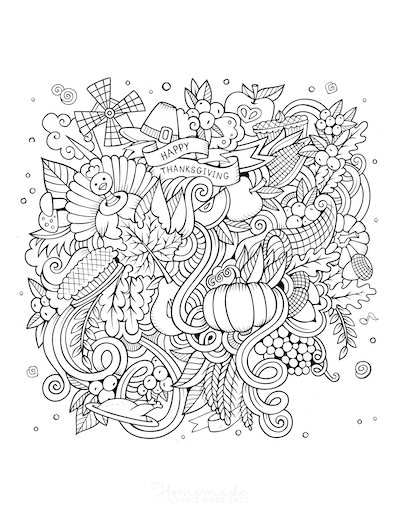Thanksgiving Coloring Pages Doodle for Adults Big Kids
