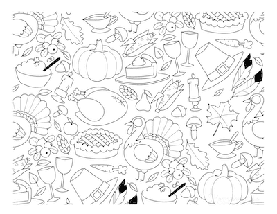Thanksgiving Coloring Pages Doodle Page for Adults