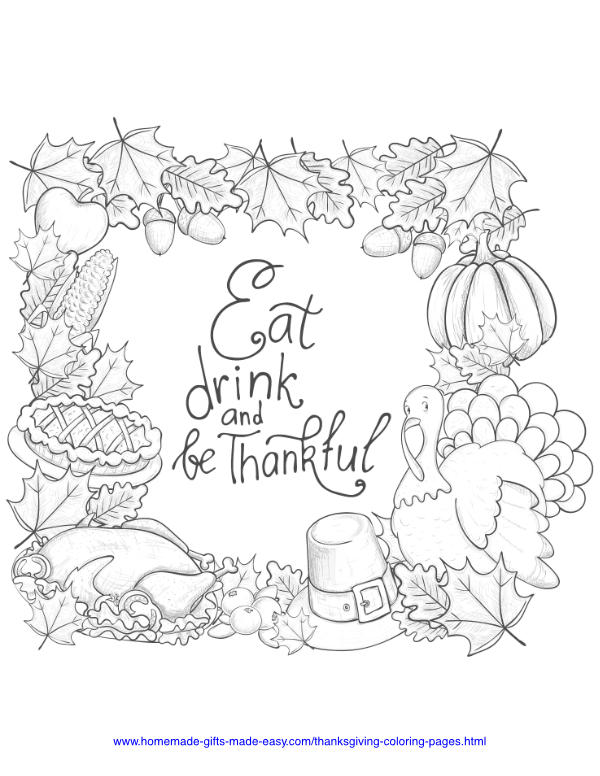 thanksgiving coloring pages - Eat drink and be thankful