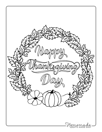 Thanksgiving Coloring Pages Fall Leaf Wreath With Pumpkins