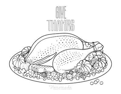 Thanksgiving Coloring Pages Give Thanks Turkey Dinner