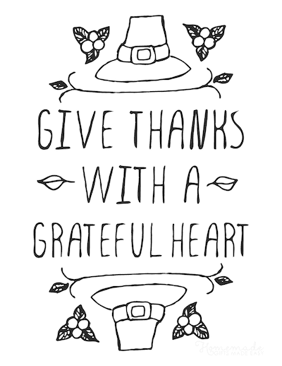 Thanksgiving Coloring Pages Give Thanks With a Grateful Heart Poster