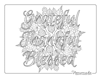 Thanksgiving Coloring Pages Grateful Thankful Blessed Adults