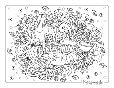 Thanksgiving Coloring Pages Happy Leaves Turkey Pie for Adults