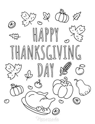 Thanksgiving Coloring Pages Happy Thanksgiving Day Pumpkin Turkey Corn Leaves