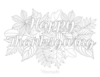 Thanksgiving Coloring Pages Happy Thanksgiving Fall Leaves