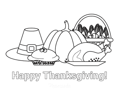 Thanksgiving Coloring Pages Happy Thanksgiving Hat Pumpkin Corn Pie